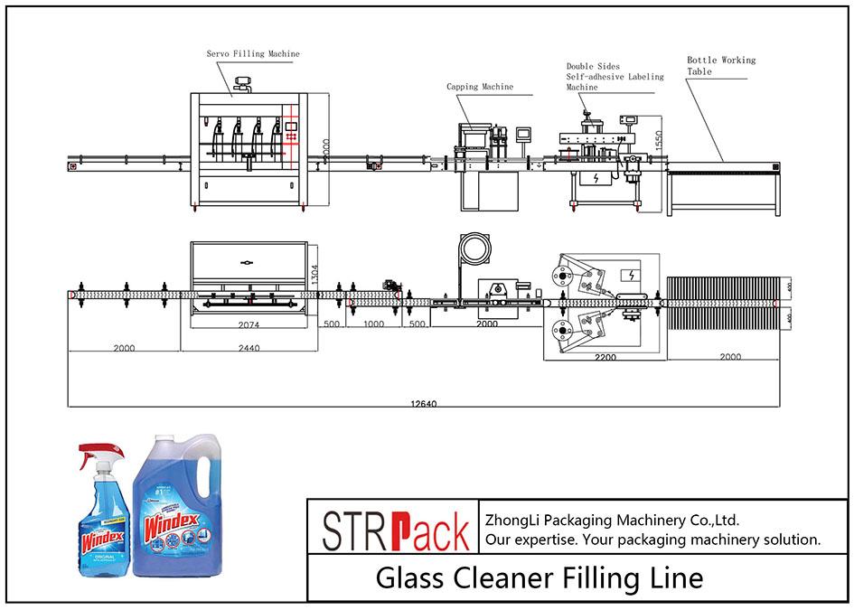 स्वचालित ग्लास क्लीनर भरने की रेखा