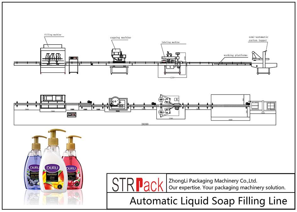 स्वचालित तरल साबुन भरने की रेखा